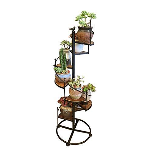 Lamp love Blumentopfhalter Schmiedeeisen-Blumen-Stand, Massivholz-mehrstöckiges Wohnzimmer-Innenboden-stehender Blumen-Stand-Balkon-hölzerner Anlagen-Stand Gartendekoration -