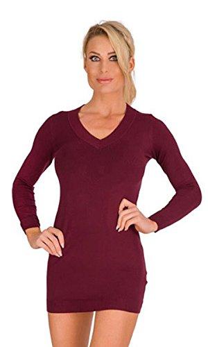 10280 Fashion4Young Damen Feinstrick-Minikleid Longpullover dress Kleid Damen Pullover V-Ausschnitt (oliv, S/M=34/36) (Seiden-baumwoll-kleid)