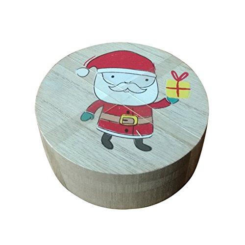 Rinde Wohnzimmer (Santa Claus und Rentier Holz natur Rinde Untersetzer Set, 2 x Santa Claus Untersetzer + 2 x Rentier Untersetzer gebunden mit einem Gummi Band, 10,2 cm Set 4 Stück)