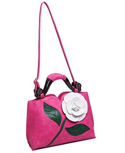 KAXIDY PU Leder Blume Handtasche Schultertaschen Messengerbags Schulter Handtasche Tasche Damentasche Rosa-Rot