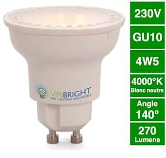 VIRIBRIGHT Spot à LED PAR 16, GU10, 4,5W, 220 lm, 4000K (blanc neutre), graduable
