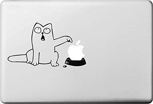 Vati Blätter Removable kreative Karikatur-Weiß Fat Cat Aufkleber Aufkleber Skin Art Schwarz für Apple Macbook Pro Air Mac 13