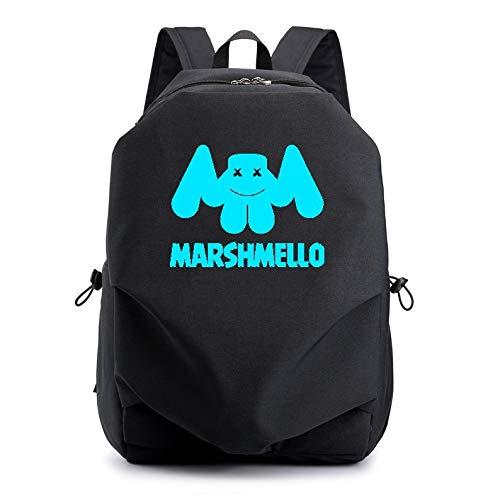 YDHK Marshmallow Luminous Rucksack mit USB Ladeanschluss, Unisex Fashion College School Bookbag Daypack Reise DJ Marshmello Laptop Rucksack (Schwarz)