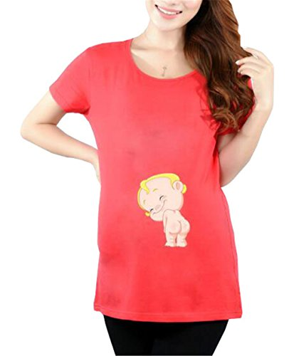 Gogofuture Damen Umstandsshirt Funny Print Mutterschaft T-Shirts Rundh