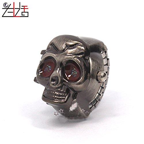 ZXLIFE Ring Uhr Elastischen Armband Ring Uhr Retro Barkeeper Schädel Kreative Finger Uhr Studenten Geschenk Zu Sehen,B