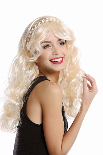 88 Perücke Damenperücke Halloween Karneval hellblond blond lang wellig lockig geflochten Haarreif ()