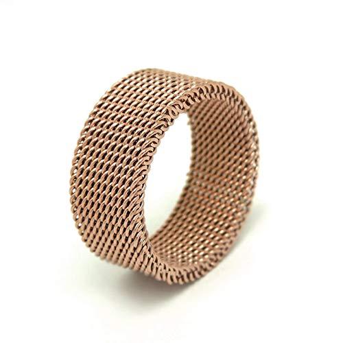 DOLOVE Edelstahlringe Damen Herren Gothic Rose Gold Mesh Net Flexible Ringe Rosegold Ringe Damen Grösse 62 (19.7) -