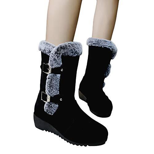 Vovotrade ♫ stivaletti femminili con fibbia con zeppa, scarpe con zeppa tinta unita in camoscio da donna stivali da neve con fibbie calde