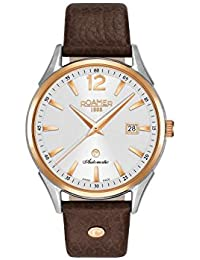 Roamer Men's Automatic Watch with Silver Dial Analogue Display and Brown Leather Strap 550660 49 25 05