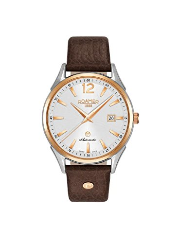 Roamer-Mens-Automatic-Watch-with-Silver-Dial-Analogue-Display-and-Brown-Leather-Strap-550660-49-25-05