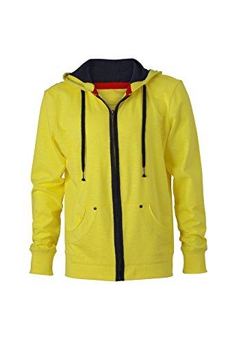 James & Nicholson Herren Urban Sweat Sweatshirt Gelb (Yellow/Navy)