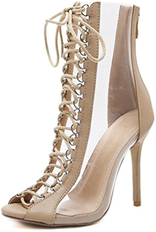 Femmes Stylet Haute Talon Des sandales sandales Des PiauleHommes t Doigt de pied Traverser Les bretelles Noir Transparent Fête...B07B3S2LQBParent 929fb8