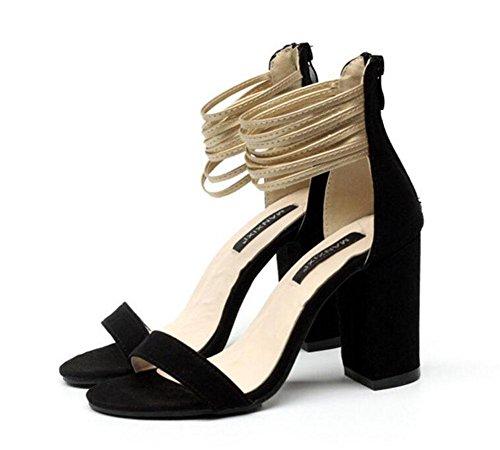 Glter Femmes Open-toe Pumps Été Combinaison Rugueuse Daim Ceinture Romaine À Talons Hauts Sandales Chaussures Noir Abricot Noir
