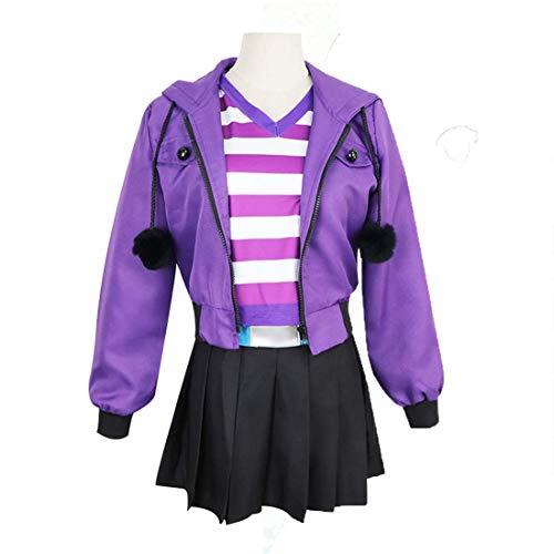 Kostüm Gestreiftes Hemd - YKJ Anime lila Jacke und lila weiß gestreiften Hemd Cosplay Halloween kostüm vollen Satz,Purple Full Set-L