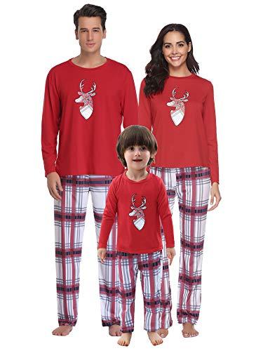 Aibrou Winter Familie Kinder Damen Lang Pyjama Set, Karierte Schlafanzug mit Kopfleist Langarm Shirt und Pyjamahose Rot XL