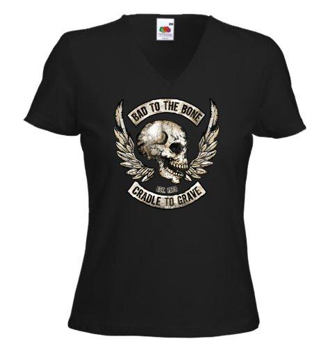 Biker Damen T-Shirt Bad to The Bone Motorcycle US Skelett V-Twin Gr.L