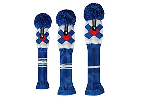 Argyle Style Blue/red/white Golf Pom Pom Headovers for Clubs Driver,fairway Wood,hybrid, Set of 3 (1#3#5#), Good Looking, Washable, Anti-wrinkle Anti-pilling, Soft Acrylic Yarn Knitted by Scott Edwards