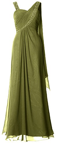 MACloth Women Straps Sweetheart Long Prom Dress Chiffon Formal Evening Gown Olive Green