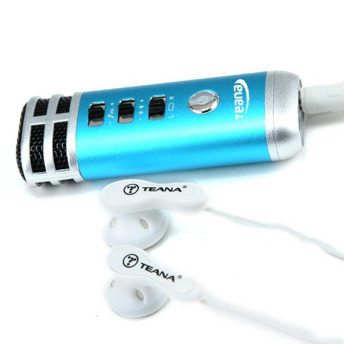 Kingzer Mini Karaoke Singen Player tragbar Mikrofon für PC Handy PSP MP4 MP3 Blau - Mp3 Psp