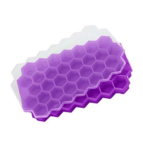 XZANTE 37 Eiswuerfel Waben Eismaschine Form DIY Pops Form Popsicle Formen Joghurt EIS Box Kuehlschrank behandelt Gefrierschrank Dessert Tools Lila -