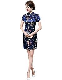 eabe1f6081a1 Meijunter Cinese Tradizionale Donne Retro Floreale Stampato Maniche Corte  Cheongsam Broccato Qipao Vestito da Sera