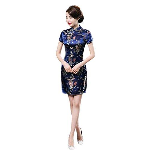67b06f6f1efe63 Meijunter Chinesisch Traditionell Frauen Retro Blumen gedruckt Kurzarm  Cheongsam Brokat Qipao Abendkleid 5XL