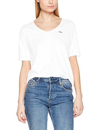 Lacoste Damen T-Shirt TF3049, Weiß (Blanc 001), 32(Hersteller Größe: 34)