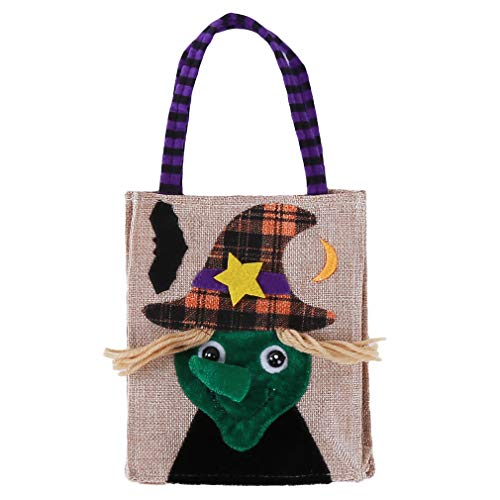 Yamiji Halloween-Süßigkeitstasche-KinderTaschen-Tasche Partei-Geschenk-Speicher-Tasche Kinderhandtaschen-Kürbis-Hexe-Eule schwarze Katzen-Skelett-Halloween-Süßigkeits-Zugschnur-Einkaufstasche, quadratische LeinenTaschentasche Hexe, Flachs