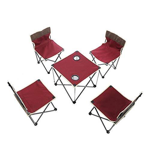 Poker Esszimmer Tisch (5 STÜCKE Tragbare Klapp Camping Tisch Stühle Set, mit 600D Oxford Stoffbeutel, Kinder Außenterrasse Camp Strand Picknick Wandern, Garten, Strand, mit Getränkehalter (Rot))
