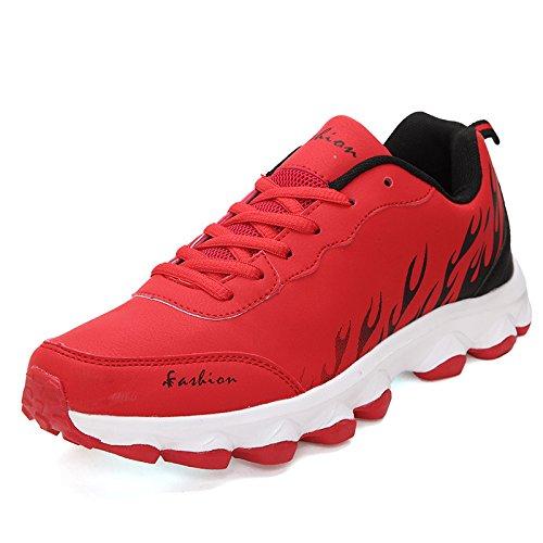 Scarpe HYLM Nuove scarpe scarpe casuali Scarpe sportive di fiamme Scarpe da corsa moda uomo traspirante red black