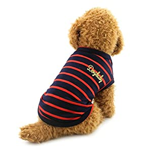 Smalllee _ Lucky _ Ranger Petit Chien Vêtements en coton rayé Gilet T-shirt Doggy Chemises Chihuahua Vêtements Pet Costume