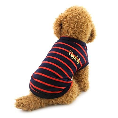 smalllee _ Lucky _ store Kleiner Hund Kleidung Baumwolle Streifen Weste T-shirt Doggy Shirts Chihuahua Kleidung Pet Kostüm (Die Besten Kostüm Designer)