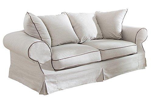 Elegantes Hussen 2er Sofa RIVIERA 210cm beige inkl. Kissen Couch Zweisitzer - 7