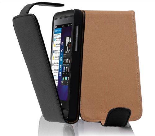 Cadorabo Hülle für BlackBerry Z10 - Hülle in Oxid SCHWARZ - Handyhülle aus Strukturiertem Kunstleder im Flip Design - Case Cover Schutzhülle Etui Tasche