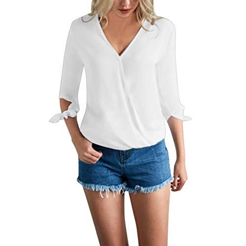 CAOQAO Elegant V-Ausschnitt Langarm Damen Arbeiten Mit BeiläUfige Farben-Lange HüLsen-Sommer-Hemd-Oberseiten Um