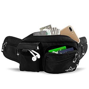 MOSSLIAN Sport Gürteltasche Reise Bauchtasche Hüfttasche geeignet für Handy iPhone X 8 7 6 Samsung Galaxy S6 Huawei P10 Mate 9 HTC ONE bis 6 Zoll für Damen Herren Joggen,Fitness(schwarz)