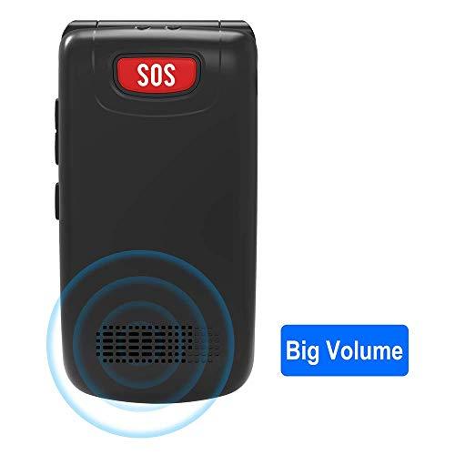 Teléfono Movil para Personas Mayores con Teclas Grandes, Ukuu Móviles con Tapa Pantalla de 2,4 Pulgadas Fácil de Usar Celular para Ancianos con Botón SOS, Cámara, Radio