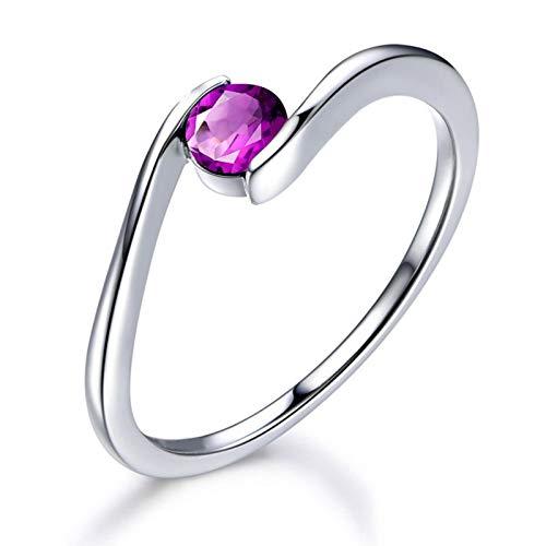 Anelli donna argento 925 a fascia rotondo viola 5x5mm ametista anello fede argento misura 23,5