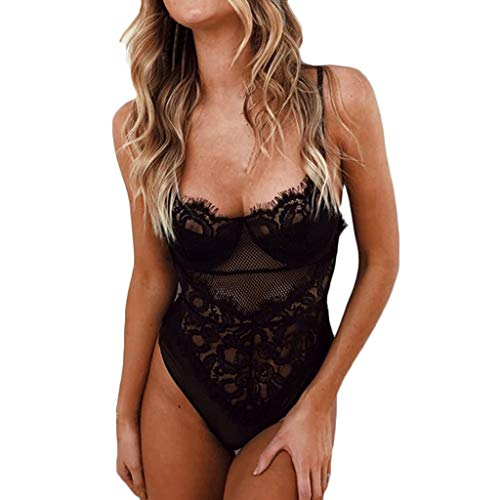 hmtitt Womens Sexy Lingerie, Fashion Ladies One Piece Lace Bodysuit Mesh Babydoll Teddy Lingerie Underwear -