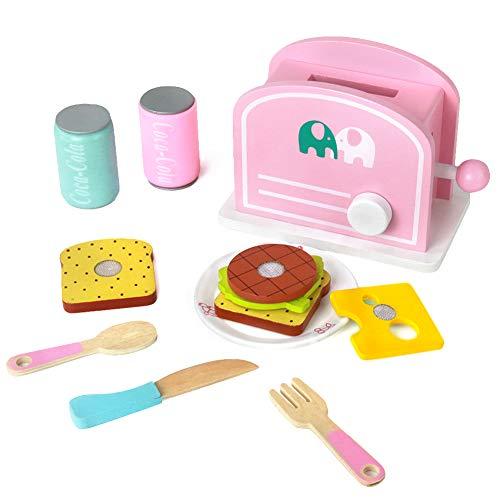 yoptote Küchen-Spielzeugset Toaster aus Holz Kinderrollenspiele Spielzeugküche Zubehör, inkl. 2 Trinken, Brot und Geschirr für Kinder 3 4 Jahre Alt (12-TLG) -
