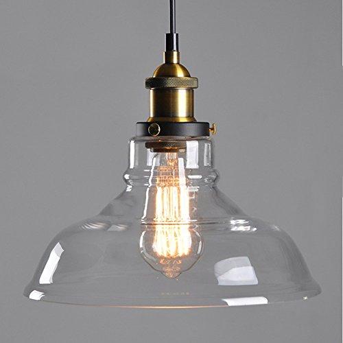 Deckenleuchte-bronze-anhänger (Amber & Transparent E27 Moderne Industrie Kreative Glas Bronze Vintage Anhänger Deckenleuchte Retro Schatten Lampe Dia 28 cm * Höhe 26 cm,Transparent)