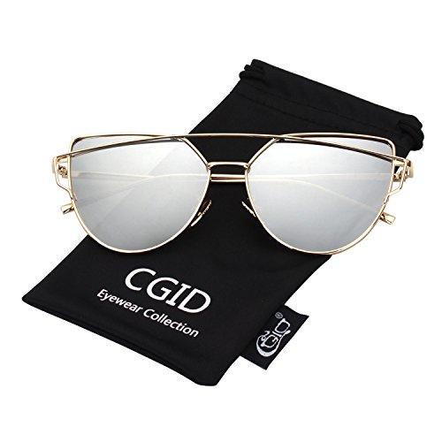 CGID Mode Polarisierte Katzenaugen Sonnenbrille For Damen UV400 reflektierenden Spiegel,Gold Silber