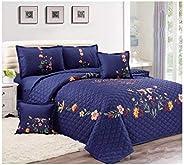 Floral Compressed 6Pcs Comforter Set, King Size, Px-005, Blue,