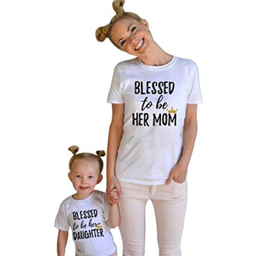 Mom-kinder Sweatshirt (Bekleidung Longra Kinder and Mom Kleidung Baby Mädchen kurze Ärmel Brief drucken Sommer T Shirt Tops Outfits (s (kinder), White))