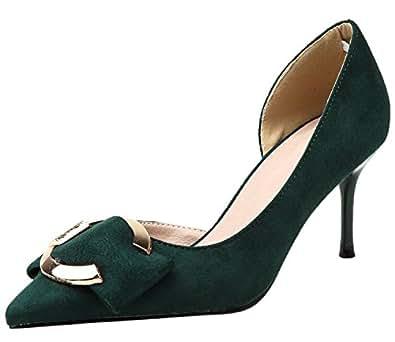 Damen Sandalen von BIGTREE Spitze Zehen D'orsay Metall Schnalle Schwarz Stiletto Kleid Pumps 42 EU cmm4W4