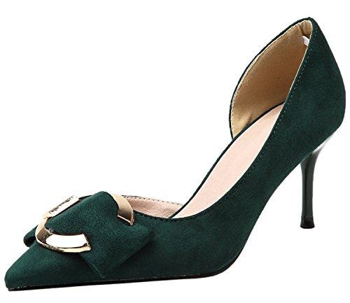 Vestir Zapatos de tacón Para Mujer De punta estrecha Sandalias D'orsay Metal Hebilla Verde Stiletto Zapatos De BIGTREE 39 EU