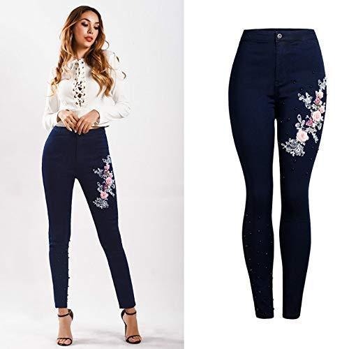 NCAYKL Hohe Taille Dünne Jeans Frauen Mode Elastizität Stickerei Denim Hosen Bis Gestickte Flares Street Blue Hosen -