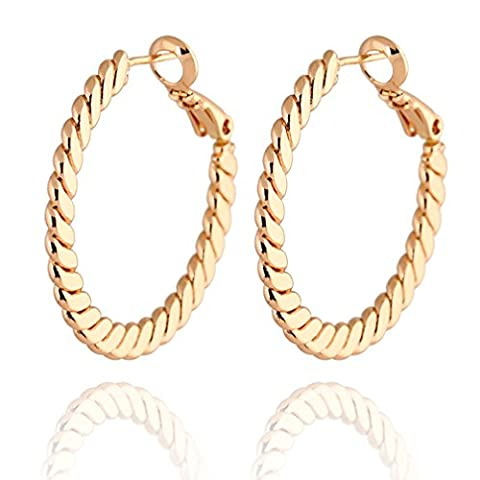 Yazilind Circle Polished Shiny Rose 18K Gold Plated Large Omega Back Hoop Earrings