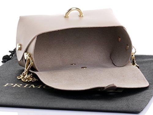 Borsa da sera Mini piccolo Micro spalla a tracolla pelle italiana con tracolla a catena in metallo.Include sacchetto protettivo marca Beige
