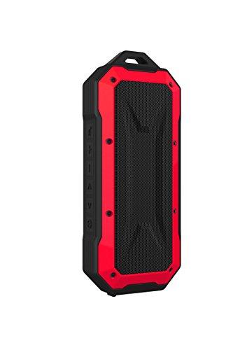 PRIXTON - Altavoz Portátil Sumergible con Bluetooth, Ranura USB, Micrófono y Función Manos Libres, Color Rojo